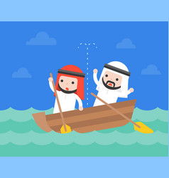 Arab businessman in small leaky boat in ocean vector