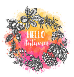 Autumn hand drawn design roud vector