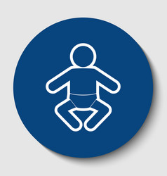 baby sign white contour icon vector image