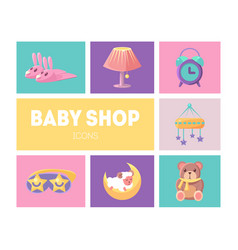 bashop icons set cute goods for babies design vector image