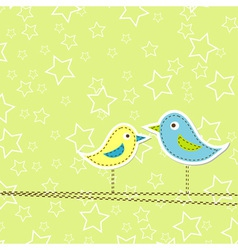 Birds greeting card design vector
