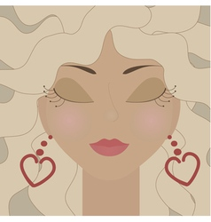 Blonde woman with heart earrings vector