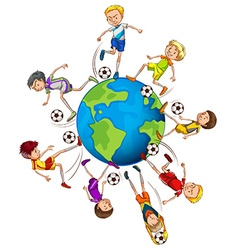 Boys playing soccer around the world vector
