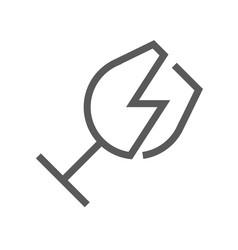 Broken glass trash garbage line icon vector