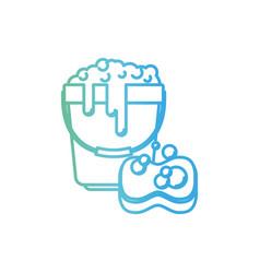 bucket with foam detergent and sponge in degraded vector image
