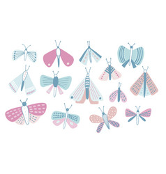 bundle of pastel colored cartoon moths of vector image