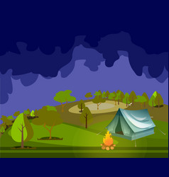 Camping in forest at night vector