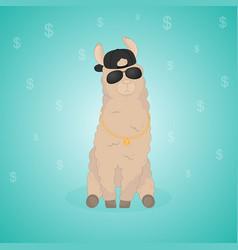 Cartoon llama cute lama alpaca card on colorful vector