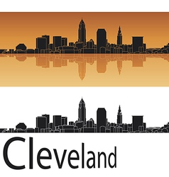 Cleveland skyline in orange background vector