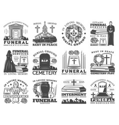 Coffins cemetery tombstones crosses and urn vector