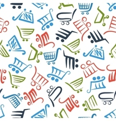 Colorful shopping carts seamless pattern vector
