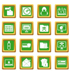 Criminal activity icons set green vector