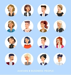 Cute cartoon human avatars set vector image