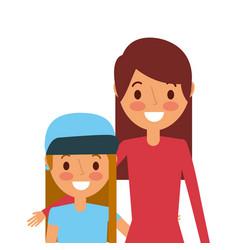 cute mom embracing her teen daughter vector image