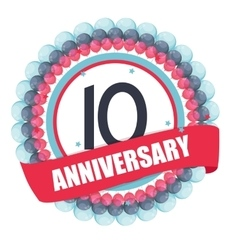 Cute Template 10 Years Anniversary with Balloons vector image