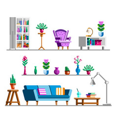 detailed interior set living room clipart vector image