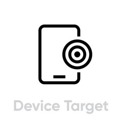 Device target icon editable line vector