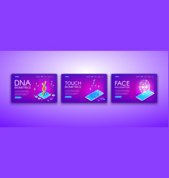 Dna touch and face biometrics vector