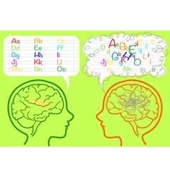Dyslexia brain vector image