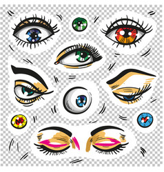 Eyes fashion stickers patch badges isolated vector