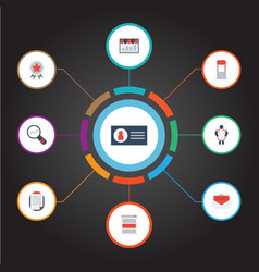 Flat icons id advertising award and other vector