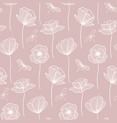 Floral seamless pattern with poppy flowers white vector