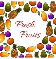 Fresh tropical fruits poster vector