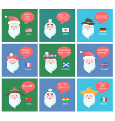 funny santa clauses of different nationalities set vector image