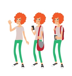 Ginger girl with an afro hairstyle vector