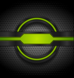 green and black glossy tech shapes on dark vector image