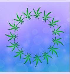green cannabis leaves pattern marijuana circle vector image