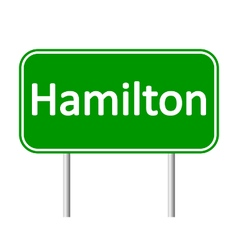 Hamilton road sign vector