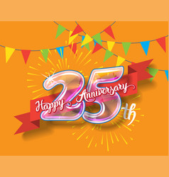 happy 25th anniversary glass bulb numbers set vector image