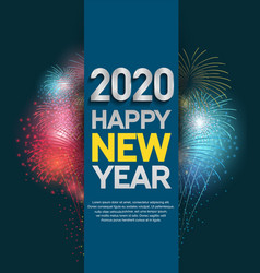 Happy new year 2020 silver color with colorful vector
