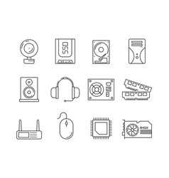 hardware pc components symbols of computer items vector image