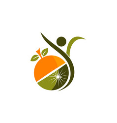 Healthy nutrition logo design template vector