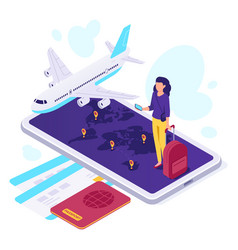 isometric airplane travel traveler suitcase vector image