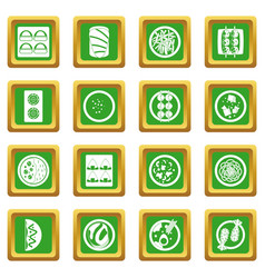 japan food icons set green vector image