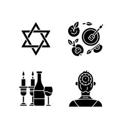 Jewish symbolism black glyph icons set on white vector
