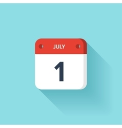 July 1 isometric calendar icon with shadow vector