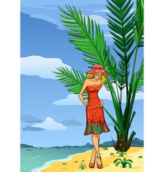 Lady in hat on the beach vector