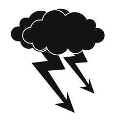 Lightning cloud icon simple style vector