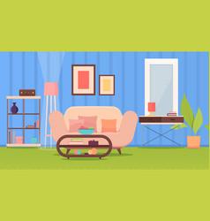 living room interior modern furniture sofa coffee vector image
