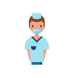 Male doctor character wearing medical mask vector