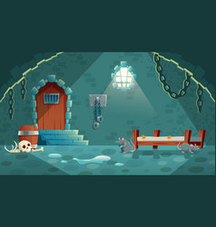 Medieval prison cell game background vector