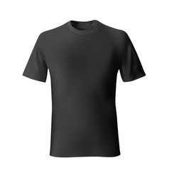 Mens black t-shirt front views template vector