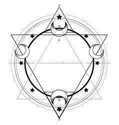 moon frame sacred geometry ayurveda symbol of vector image