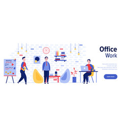 office work web banner template flat vector image