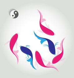 Ornamental fish with the symbol of Yin Yang vector image