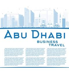 Outline Abu Dhabi City Skyline with Blue Buildings vector image